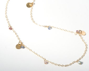 Delicate Necklace, Delicate Gold Necklace, Delicate Gold Chain, Gold Charm Necklace, Layering Necklace, Gold Layering Necklace, Gemstones