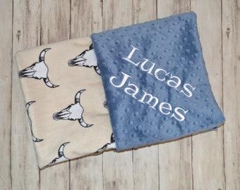Monogrammed Baby Blanket, Cow Skull, Personalized Minky Denim Blue and Beige Blanket with Name, Birth Stats Newborn, Baby Boy Gift, Bullseye