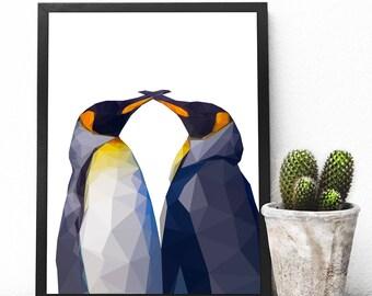 Geometric Penguin, Instant Downloadable Printable Art, Printable Wall Art