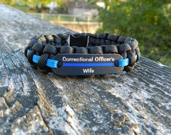 Correctional Officers Wife Paracord Rope Bracelet, Choice of thin blue or thin silver line accent cord and family member