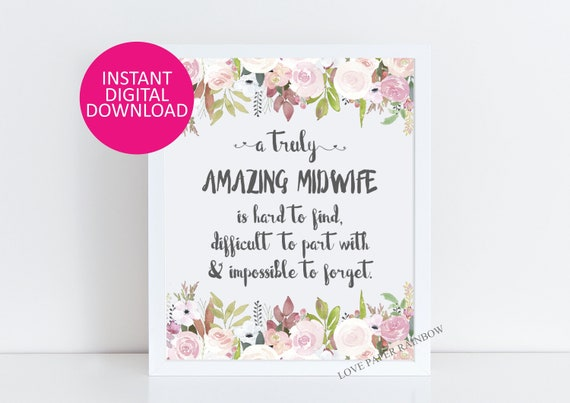 midwife Gift, An amazing midwife is hard to find, Office Decor, Printable midwife Gift, midwife retirement midwife Quote Gift for midwife