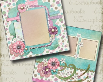 SWEETEST THING - 2 Premade Scrapbook Pages - EZ Layout 287