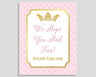 We Hope You Had Fun Please Take One Sign, Pink and Gold Princess Baby Shower Sign, Princess Baby Girl Sign, INSTANT PRINTABLE