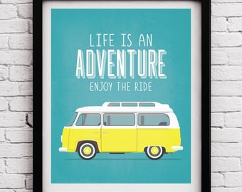 Travel poster, Typographic poster, Quote art, Inspirational print, typography print, Journey print, Typographic poster, VolksWagen, VW print