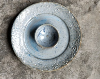 Elegant Dusty Blue Chip and Dip,  serving plate, veggie plate, rustic, handmade pottery, Made in USA