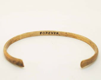 Women's Bronze Bracelet, 8th Anniversary Gift, Rustic Bronze Cuff, Forever Bracelet, Forever Cuff