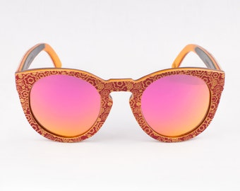 Wood Sunglasses, Polarized Sunglasses, Wooden Sunglasses, Wood Eyewear, Handmade Sunglasses, Pink Sunglasses, Unique Sunglasses by WINKWOOD