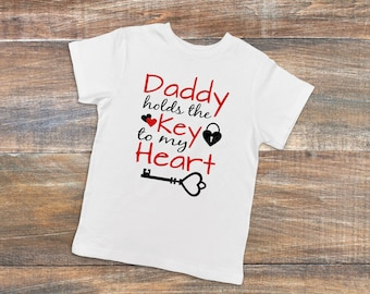youth key to my heart shirt daddy has key to my heart kids shirt daddy's girl kids shirt love my daddy shirt daddy's girl childrens clothing
