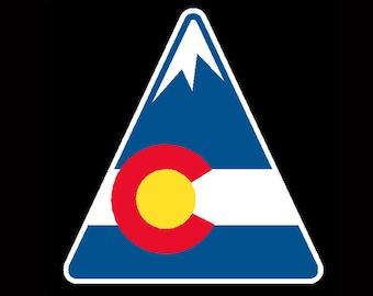 Colorado State Flag Mountain Vinyl Sticker Decal - CO I love colorado cool colorado sign Mountains triangle