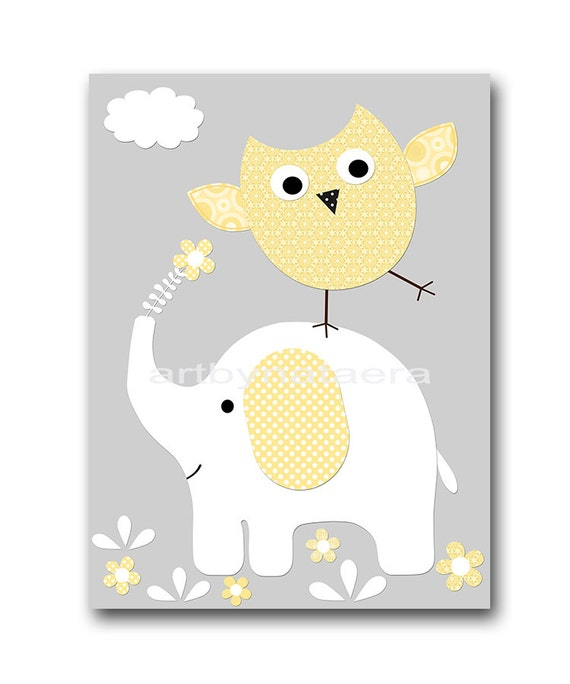 Elephant Nursery Owl Nursery Children Art Print Kids Wall Art