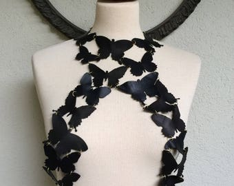 Extra Sexy Butterfly - Black Leather Butterflies Top Bralette Harness Necklace Steampunk Gothic - OOAK