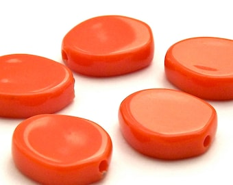 Vintage Lucite Orange Coral Flat Nugget Beads