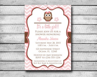 Digital Baby Shower Invitation | Pink and Brown Owl | Baby Shower | Print Yourself | 4x6 or 5x7 Invitation | JPG & PDF Invitation