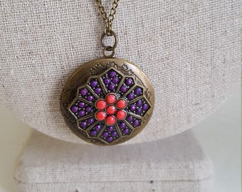Bronze Bohemian Locket Boho Hippie Necklace Shipping Included