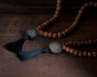 Soulmate Mala Bracelet – Wrist Mala, Prayer Beads, Friendship bracelet, Healing Jewelry, Rudraksha seeds and Moqui Marble, Moqui Marbles