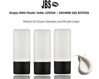 3 MINI Tottle Travel PLASTIC Bottles 45ml (1.5 oz.) for Lotion, Shampoo, Conditioner, Hand Sanitizer EMPTY Natural w/ Black Flip Top Caps