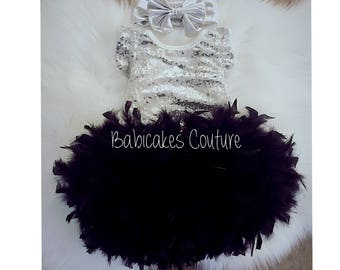Black and Silver Babys 1st Birthday Outfit, Full Feather Bloomer, Silver Sequin Bodysuit, Silver Headband Silver Sparkle 1st Birthday Outfit
