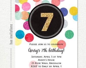 7th birthday invitation for girls, rainbow party gold glitter digital invitation, confetti birthday party customized printable invite