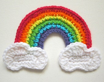 "Large 6.5"" GIRLY RAINBOW with CLOUDS Crochet Applique"