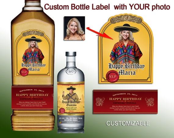 Custom Tequila Label Birthday Bottle Labels Mini Whiskey