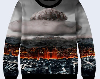 Nuclear Explosion Sweatshirt, Apocalypsis Sweatshirt for Women, Pullover Sweater, Sweat Shirt, Grey Sweater, Womens Workout Shirt