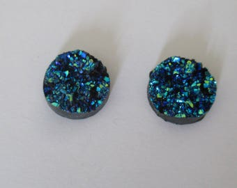 set of 2 cabochon with glitter