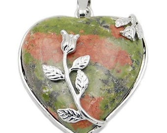 Silver plated floral heart pendant - unakite
