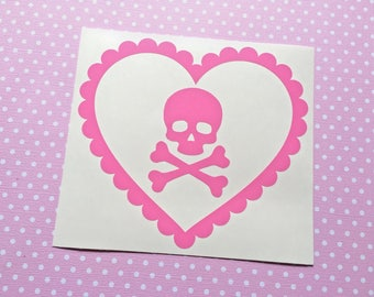 Pastel Macabre Love Hearts - Skull & Crossbones - Car decal, Laptop sticker, Spooky, Macabre, Gorey, Lolita, Spooky cute, Pirate, Poison