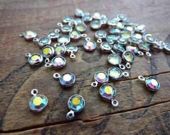 Charm Drop Glass Jewel Drop Bead Vintage Small 4mm FC111 (10)