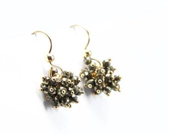 Gold Pyrite Cluster Dangles || Pyrite Earrings || Gold Cluster Earrings
