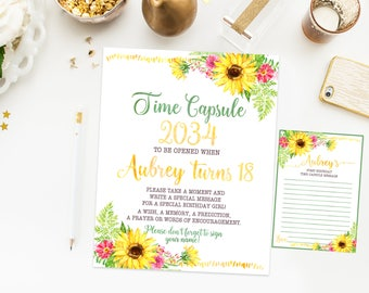 Sunflowers Time capsule first birthday sign, sunflowers birthday party, girl first birthday party, printable print