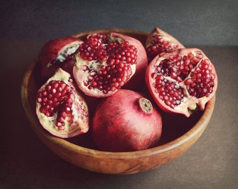 "Pomegranate Print - Fruit Still Life - Rustic Framhouse - Kitchen Wall Art - Fine Art Photography -  Red Kitchen Decor - Red Fruit ""Bounty"""
