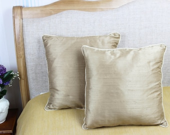 Decorative gold coloured 100% pure silk cushion / pillow cover 16 x 16 inch