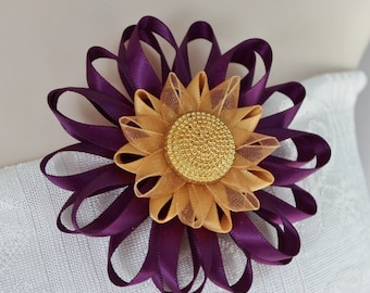 Purple and Gold Corsage Pin, Purple Flower Corsage, Purple and Gold Wedding Flowers, Purple Flower Pin, Purple Dress Pin, Purple Corsage Pin