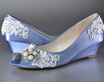 Lace Wedge Wedding Shoes - Custom Colors 120 - Women's PBP101.75 Bridal Wedge Shoe, Periwinkle, Pink2Blue Shoes