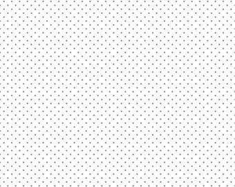 Swiss Dots White with Silver Metallic Dots Fabric by Riley Blake
