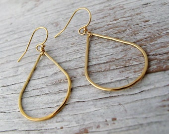 Sale! New, 14k Gold Filled Teardrop Earrings, Hammered, Lightweight, Modern, READY TO SHIP, Gift for Her