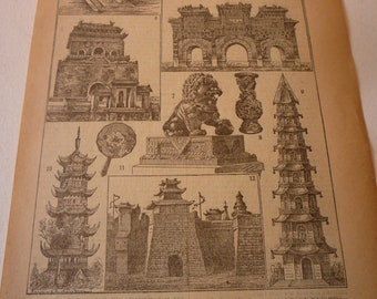 French Lithograph - Chinese Art - 1920s engraving - original Art Chinois