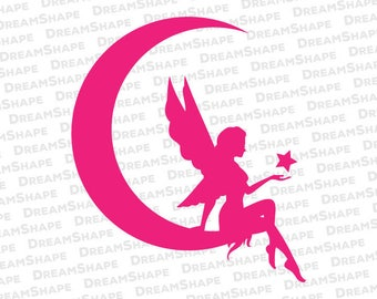 Fairy in the Crescent Moon SVG Cut Files, Tooth Fairy SVG Cutting Files, Tinker Bell DXF Cuttable File, Cute Fairy Svg File Instant Download