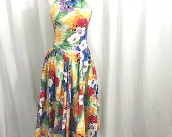 Vintage 80s Floral Halter Circle Skirt Dress S