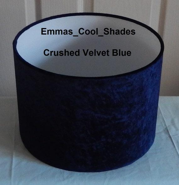 Handmade lampshade crushed velvet navy blue fabric drum aloadofball Images