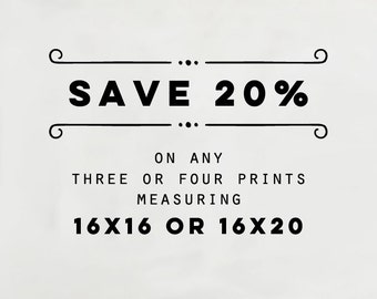 SAVE 20% - Choose Any Three or Four 16x16 or 16x20 Photography Prints from Eye Poetry Photography