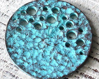 Mykonos Green Patina Oval Moonscape Pendant - 36mm - Jewelry Making Supply - Jewelry Findings And Parts - 2 Pieces