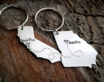 Best Friends Gift BFF Gift Best Friends Keychain Bestie Gift State Keychain Long distance relationship Long distance friendship going away