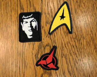 Star Trek Patches (live long and proper, spock, prosper, star trek, trekky, nimoy, klingon,scifi, fun)