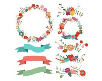 Vintage Floral Wreaths and Design Elements Clip Art- Set of 9 300 DPI PNG, JPG and Vector Files