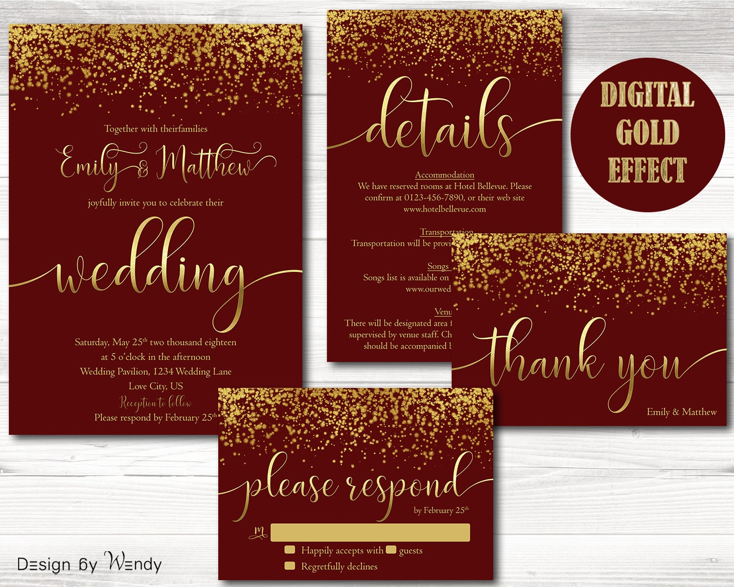 Wedding invitation burgundy and gold glitter gold and