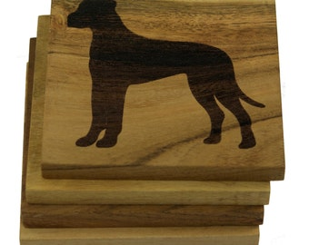 Great Dane Coasters - Set of 4 Engraved Acacia Wood Coasters