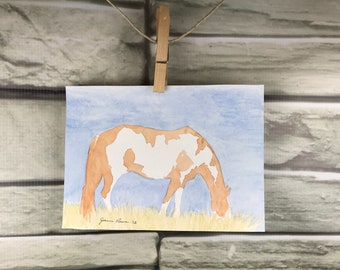 Horse art - original watercolor painting of an Overo Paint Horse