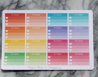 Cleaning Ombre Checklist Stickers